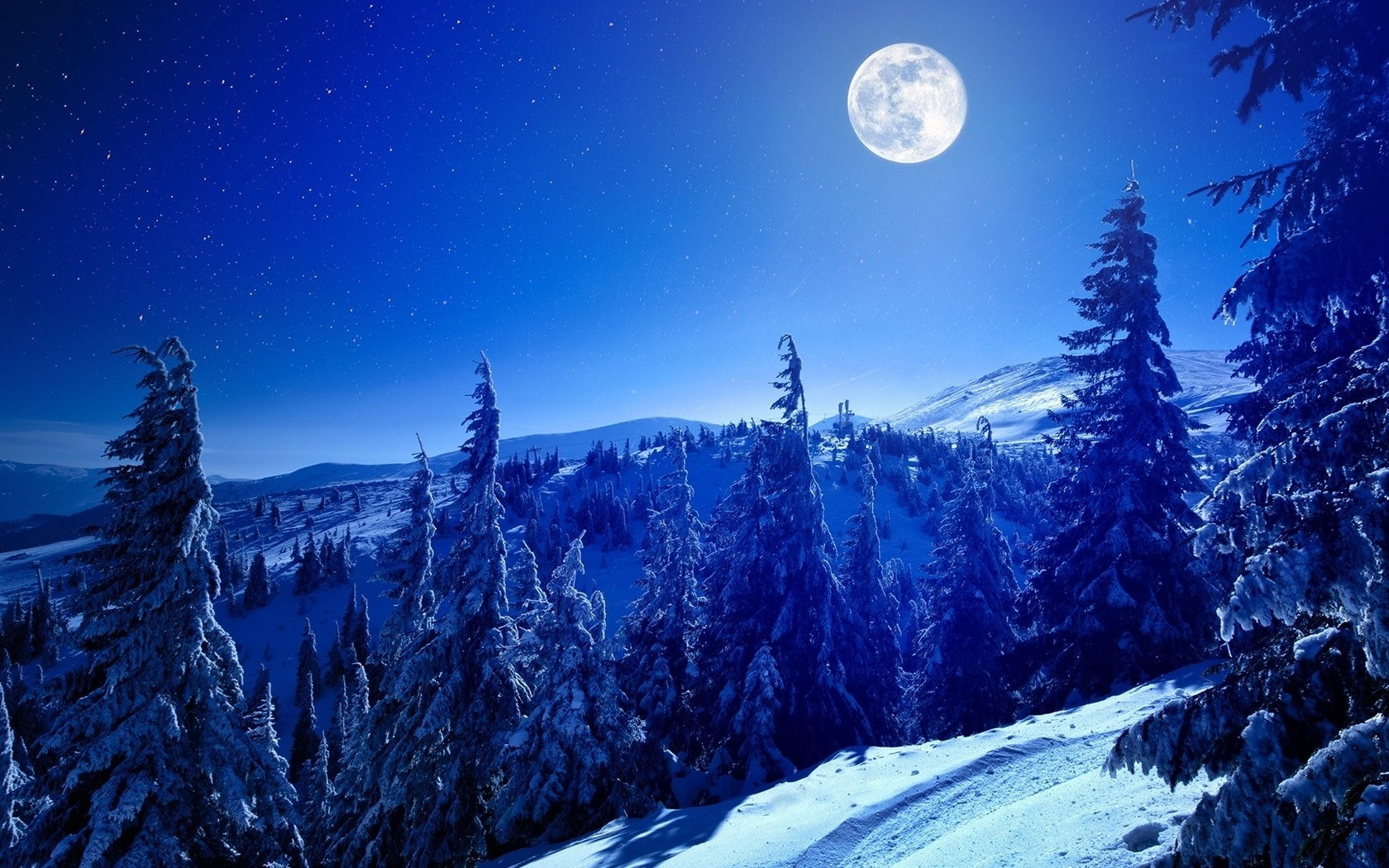 landscape, nature, mountains, forest, night, moon, snow