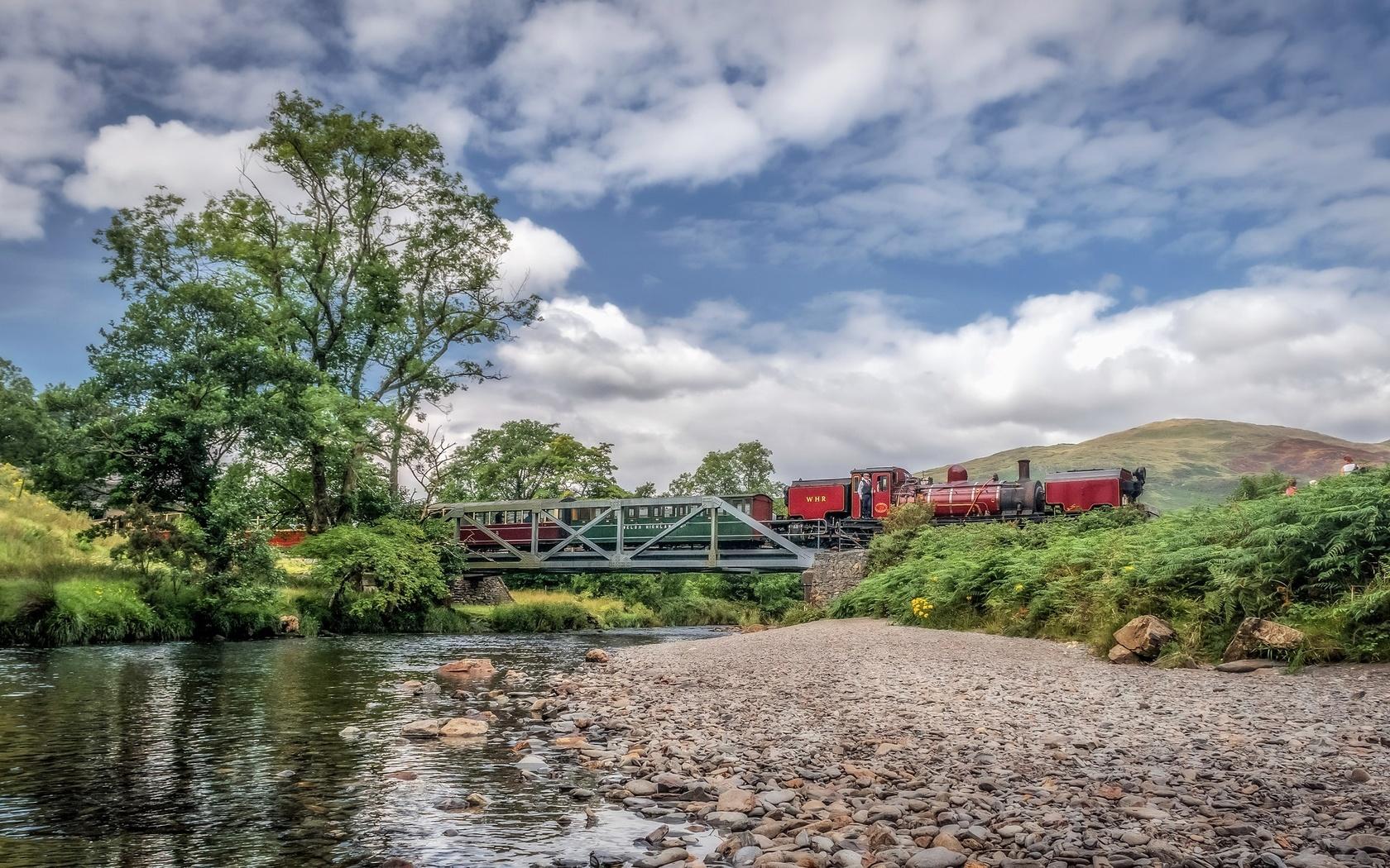 река, мост, поезд