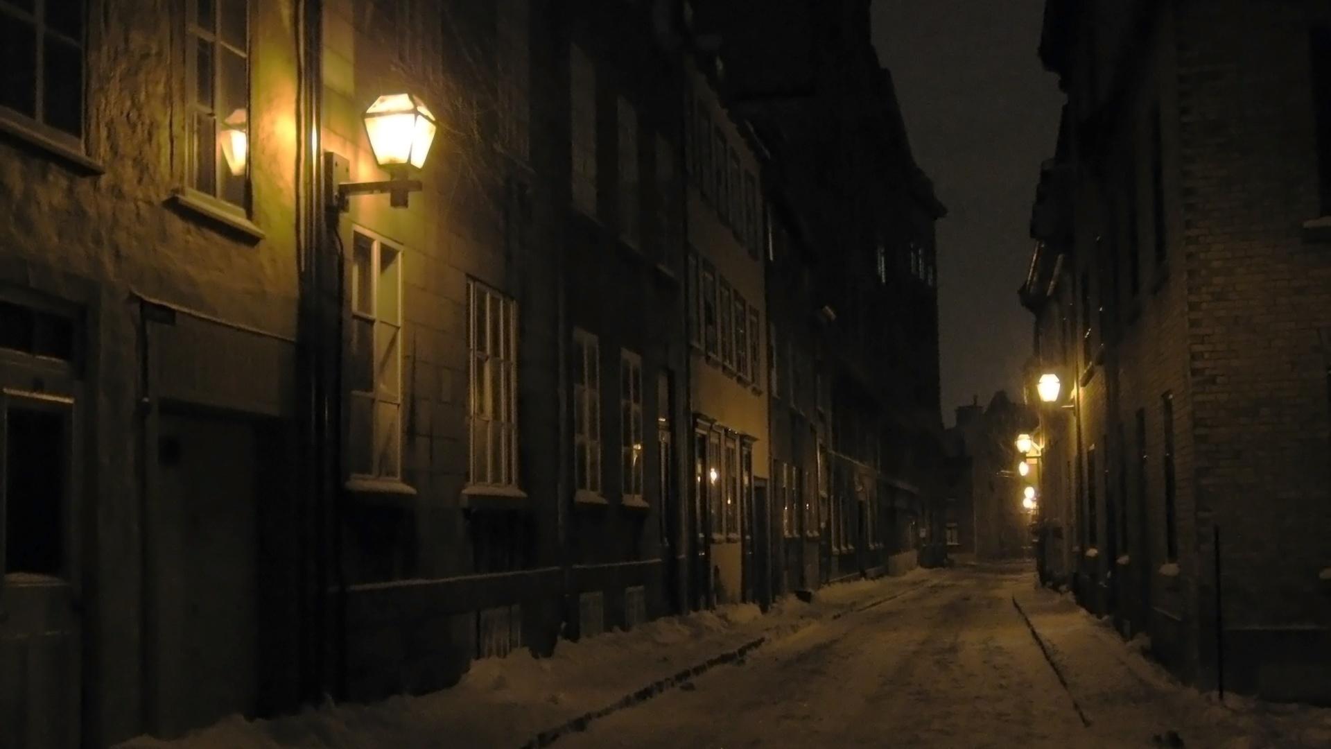 ночь, город, улица, зима