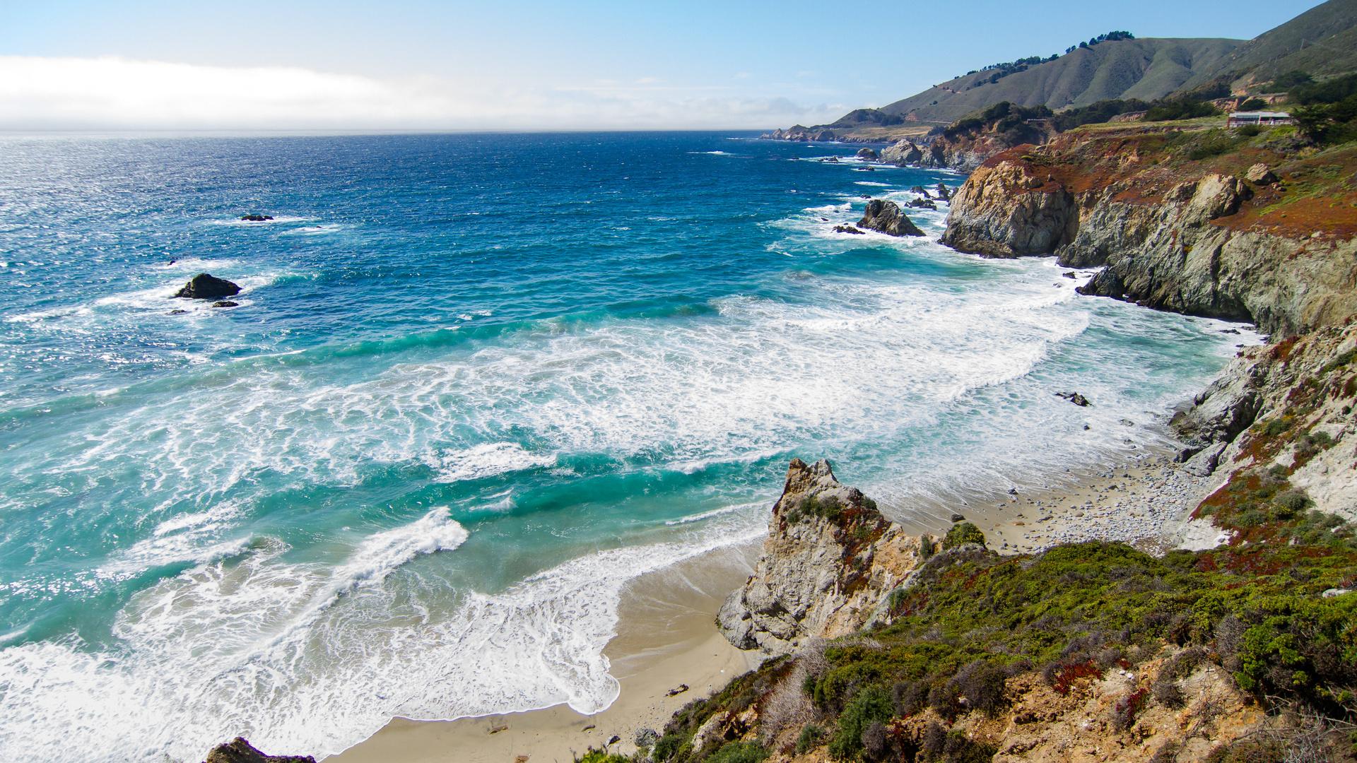 побережье, океан, калифорния, природа