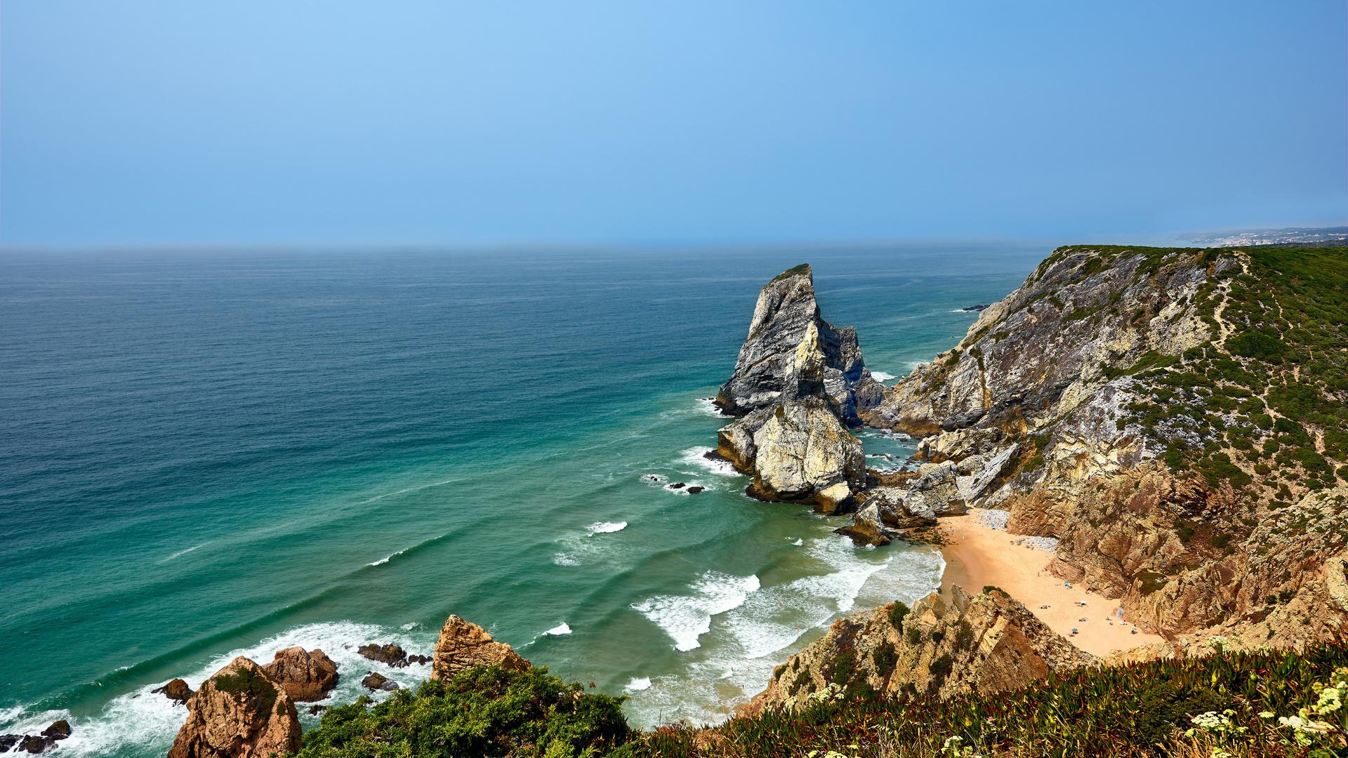 португалия, побережье, океан, cabo da roca, скала, природа