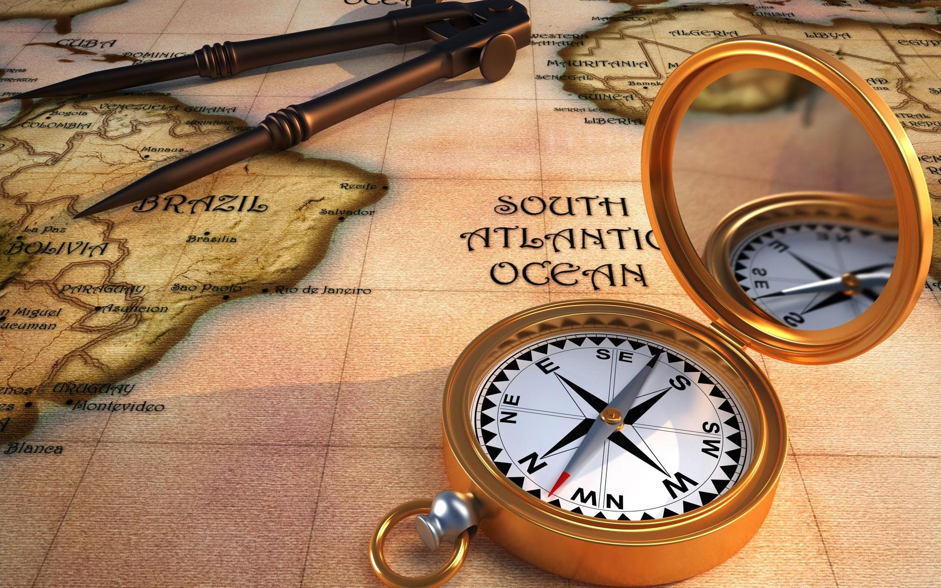 карта, компас