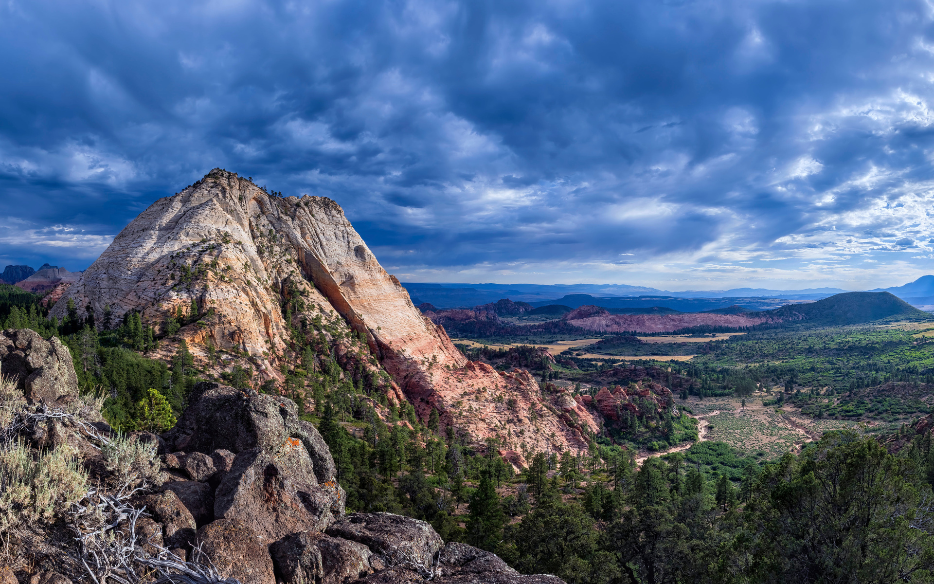 пейзаж, зайон, национальнай, горы, скала, облака, природа