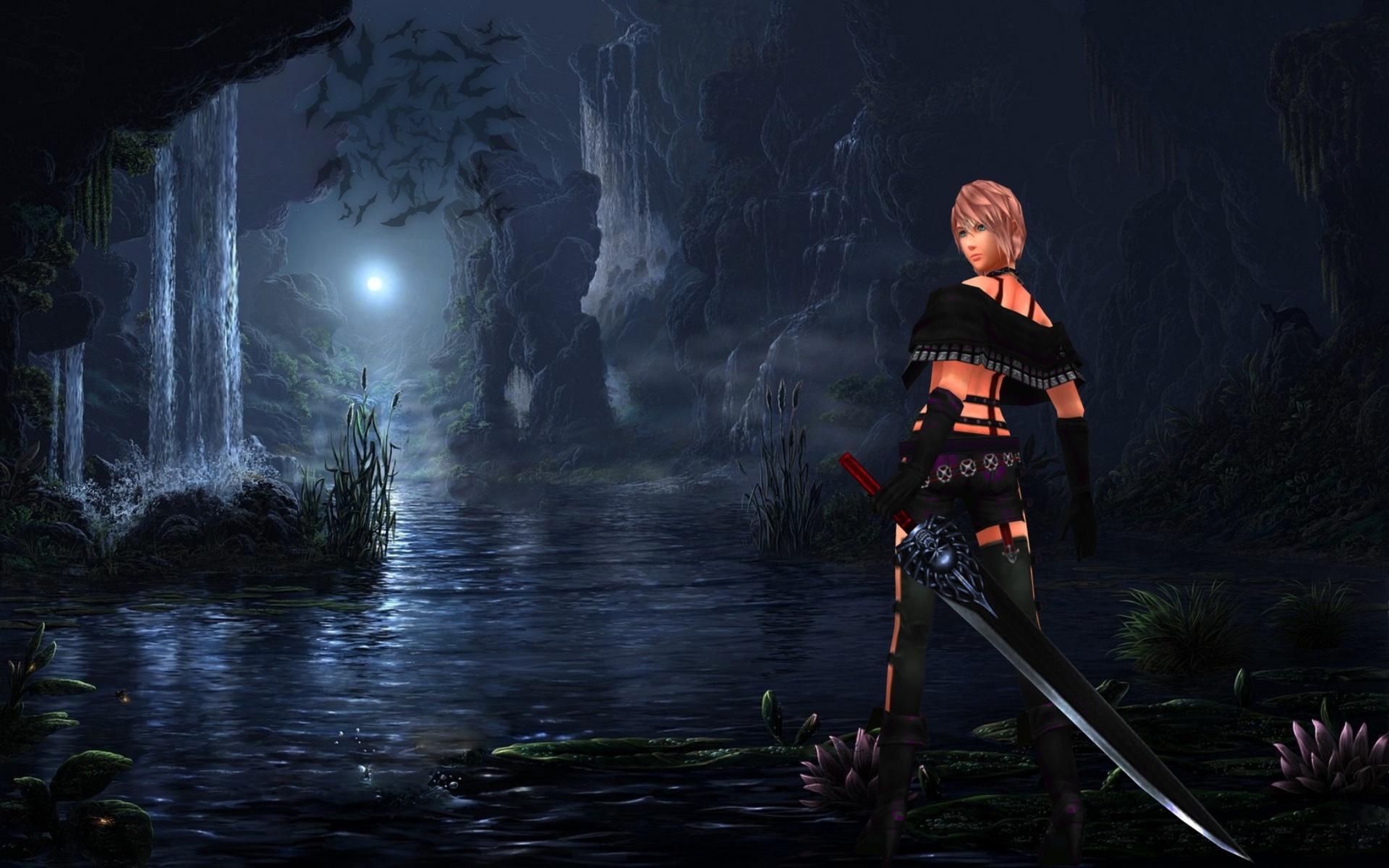 воительница, меч, пейзаж, ночь