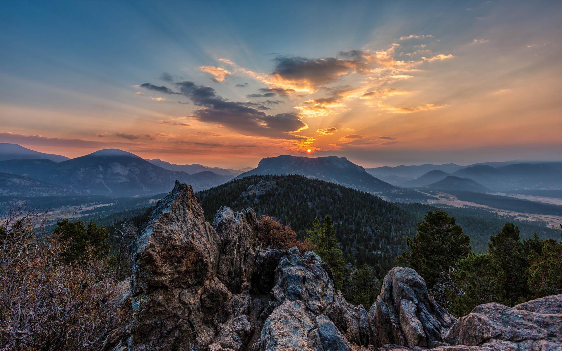 горы, небо, rockym, mountain, national park, природа