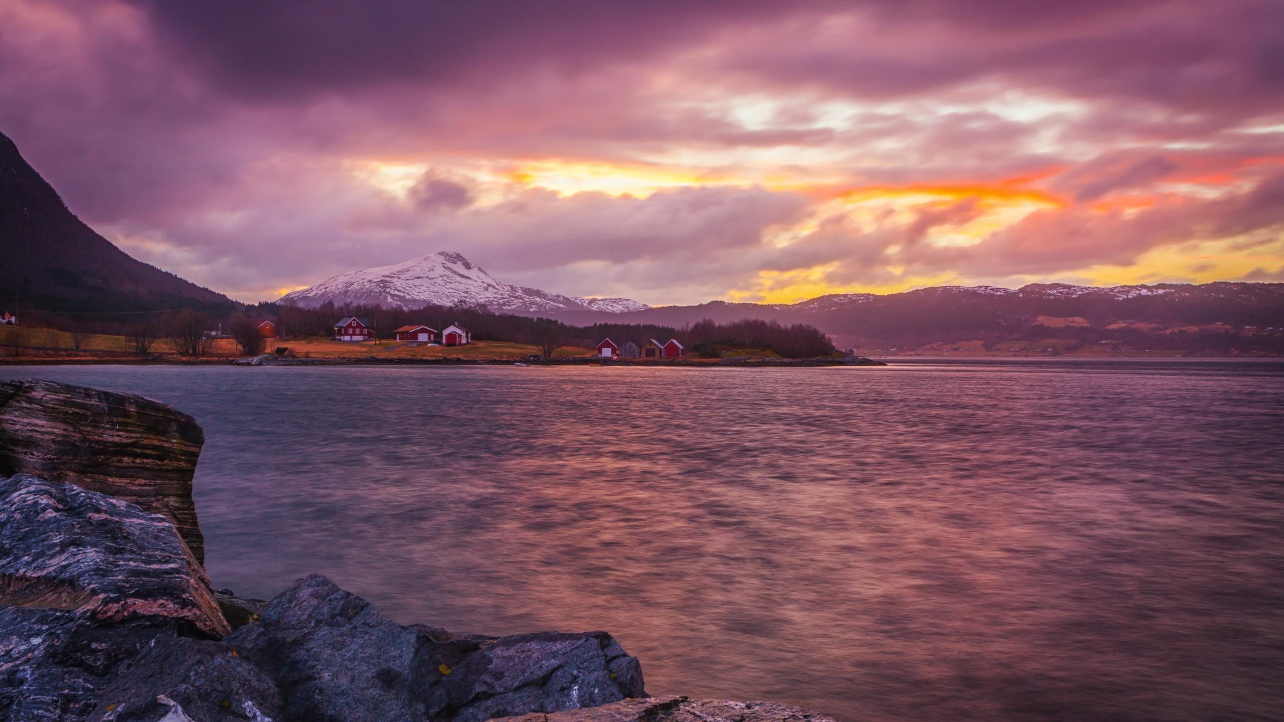 фьорд, закат, природа