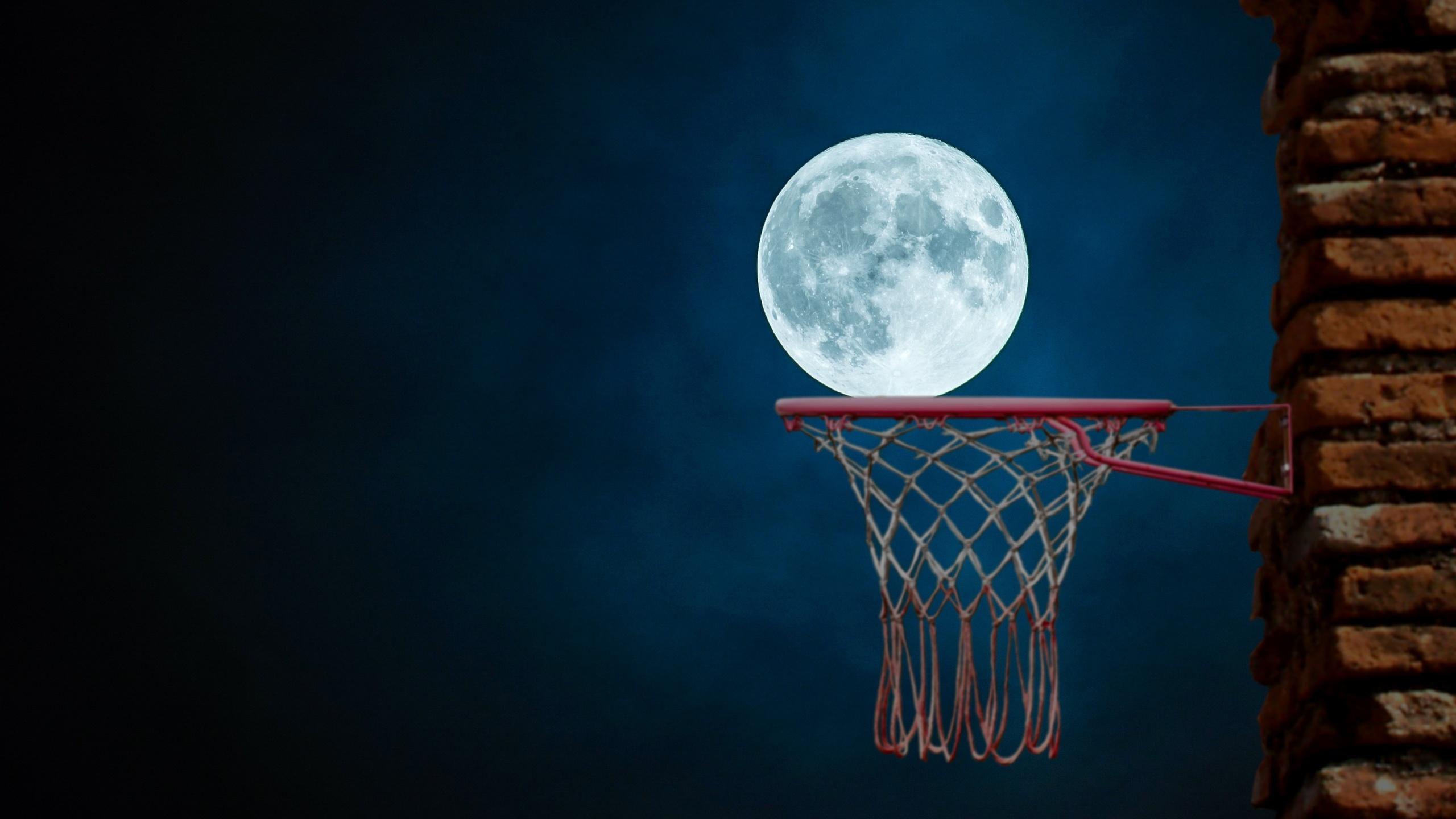 ночь, луна, баскетбол, корзина