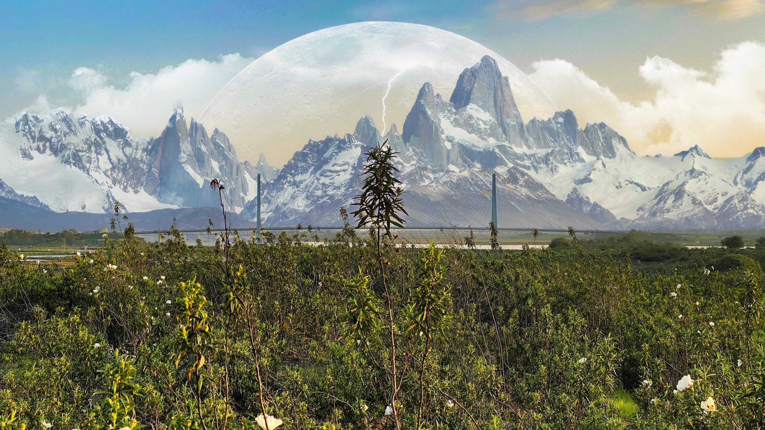 долина, горы, планета, 3d