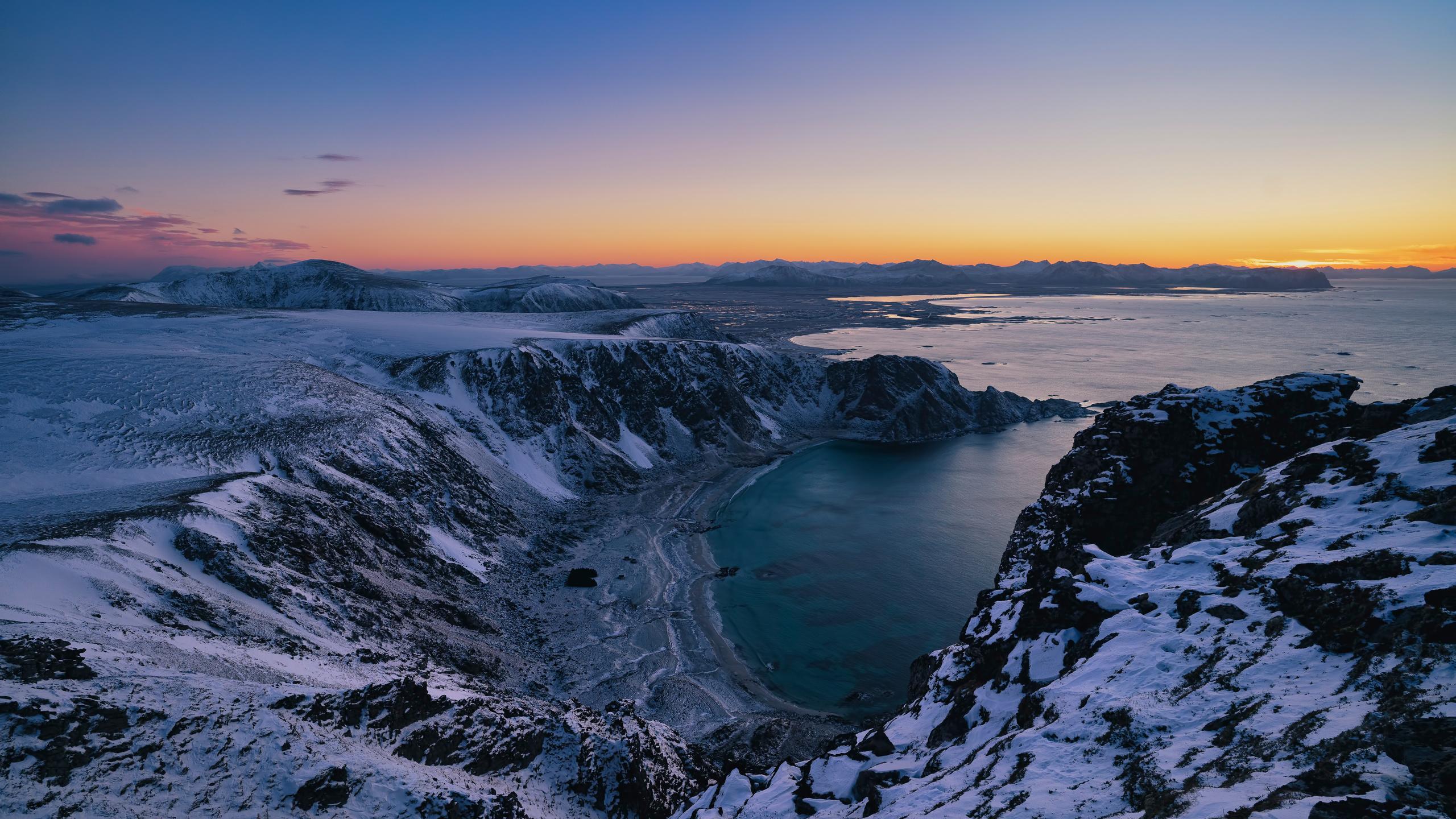норвегия, лофотенские острова, побережье, горы, сверху, природа