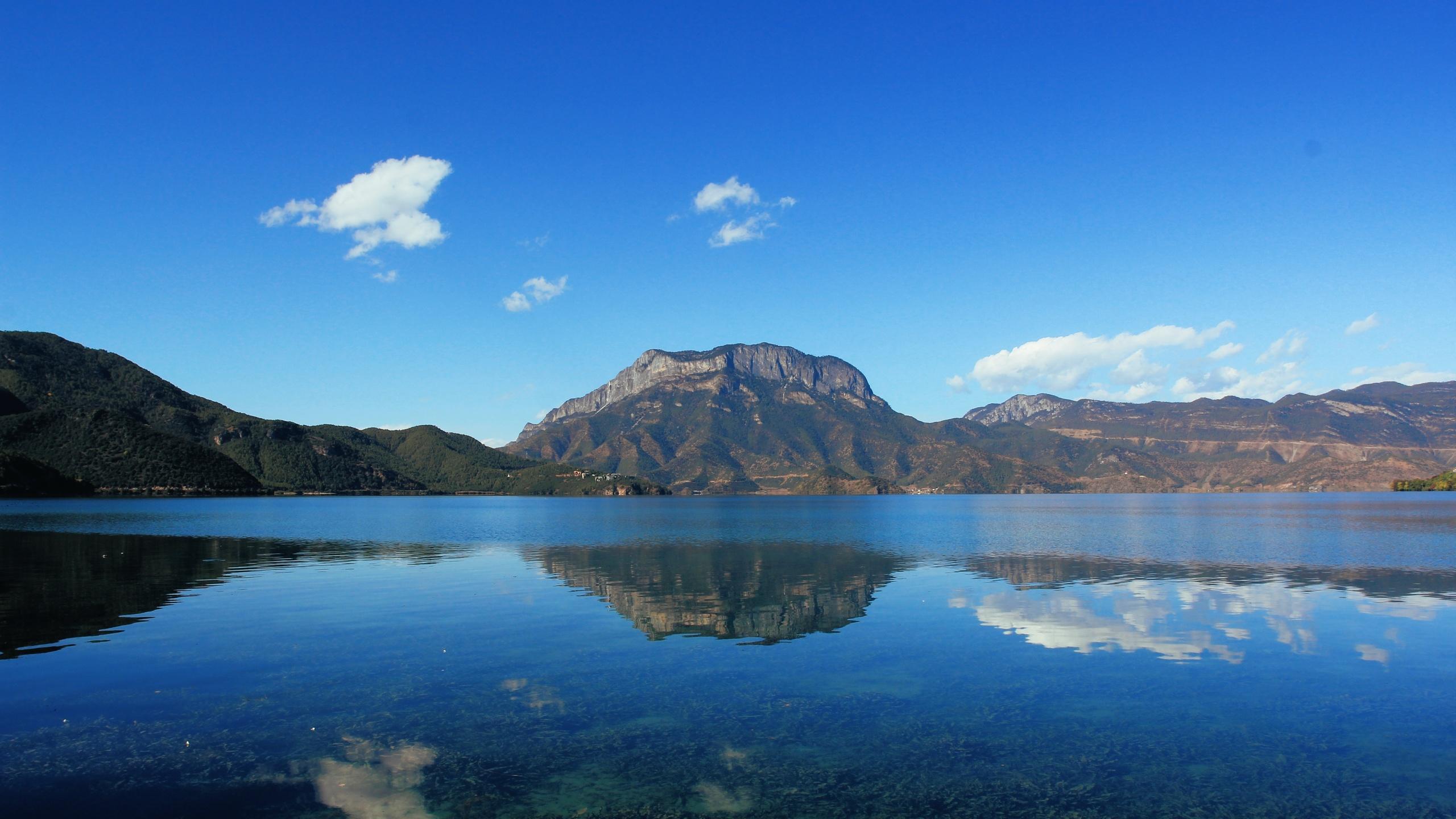небо, горы, озеро, отражение