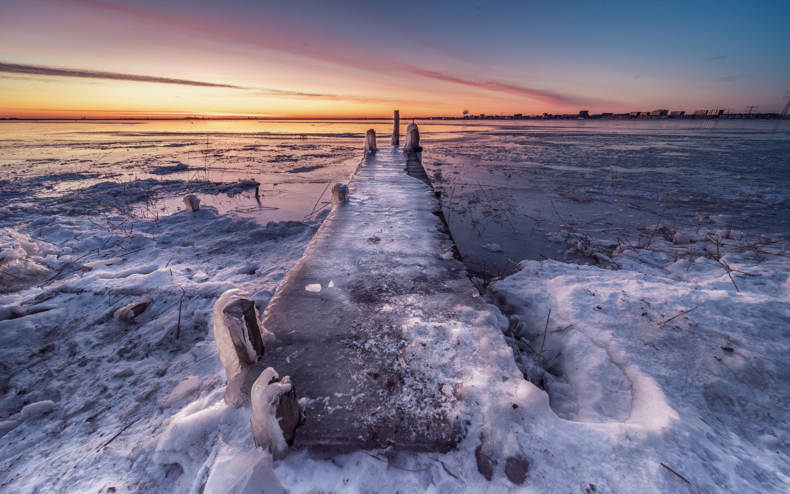 нидерланды, побережье, причал, durgerdam, лед, природа, берег, голландия, пирсы, пристань