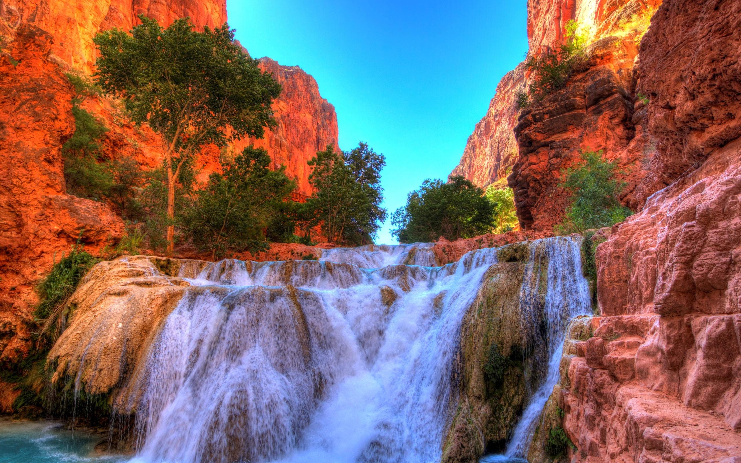 водопад, grand, falls, arizona, little, colorado, river, деревья, скала, природа
