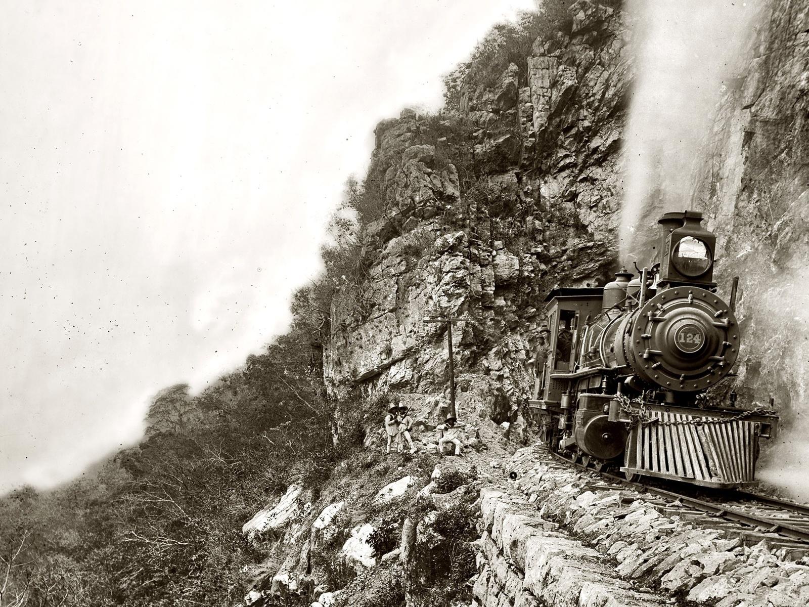 скалы, паровоз, ретро, 1890
