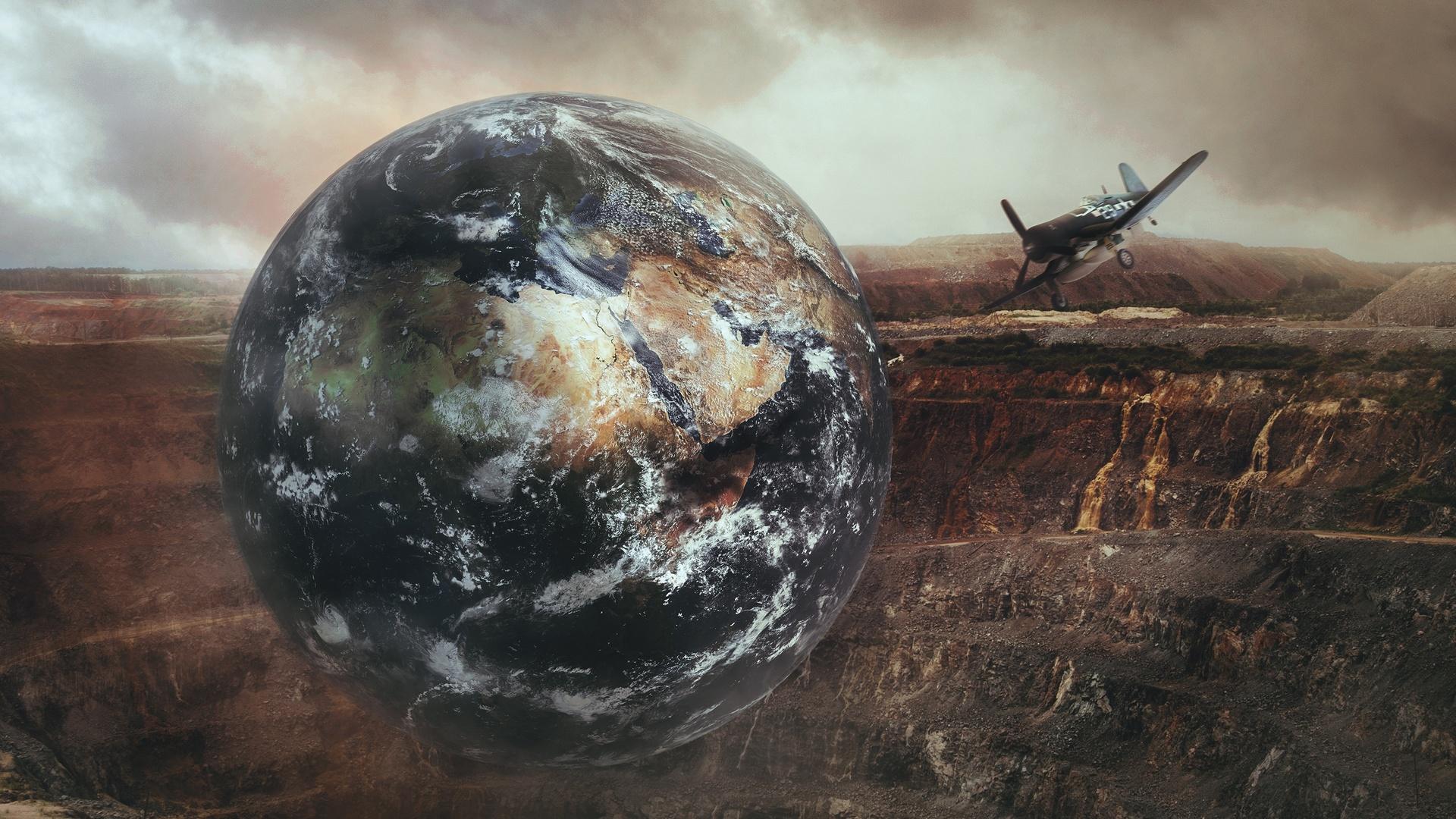 планета, горы, самолет, фотошоп