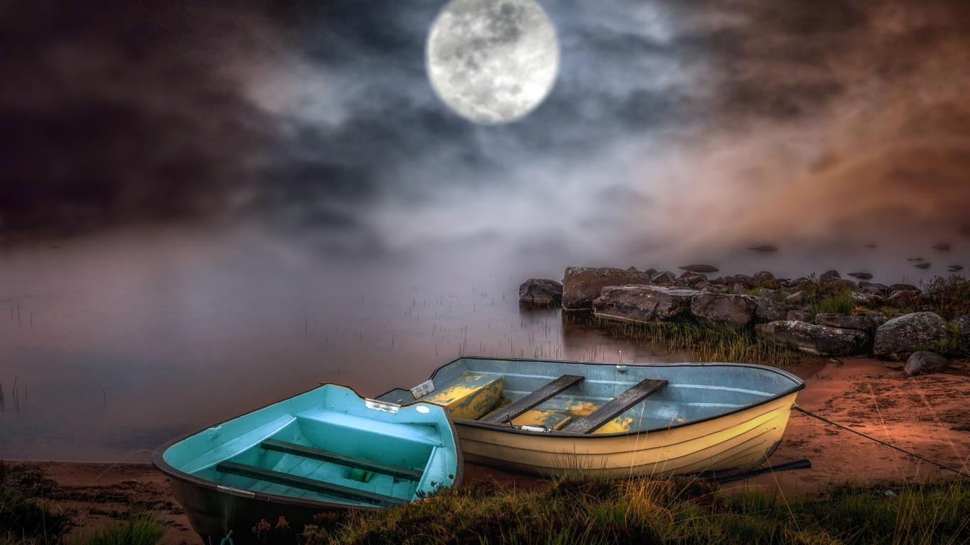 туман, вода, лодки, небо