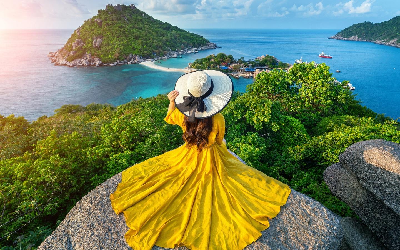 таиланд, море, камни, остров, пейзаж, платье, шляпа, природа, девушка