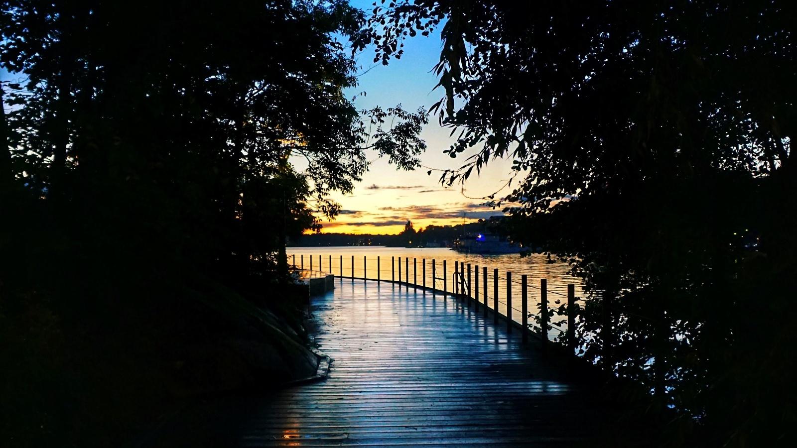 мост, деревянный, закат, темный