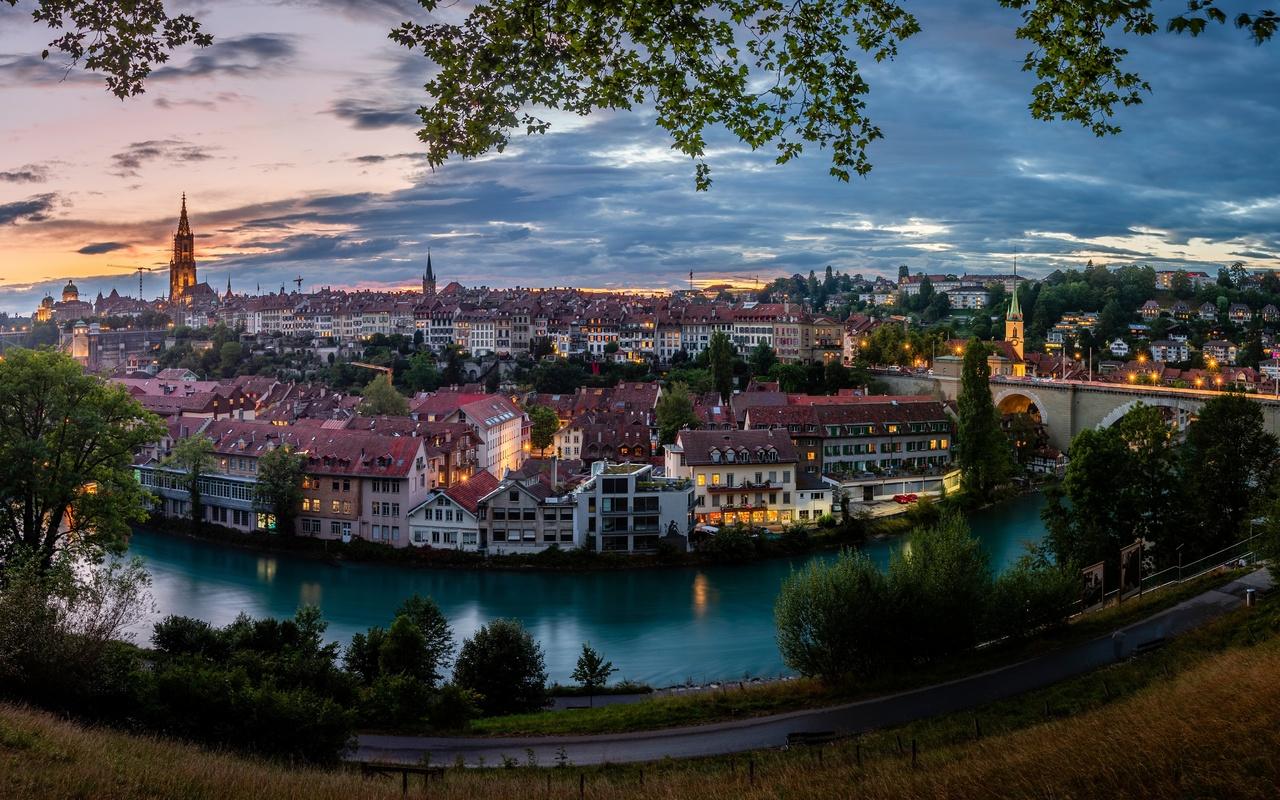 швейцария, берн, дома, река, мост, панорама, aare river, город