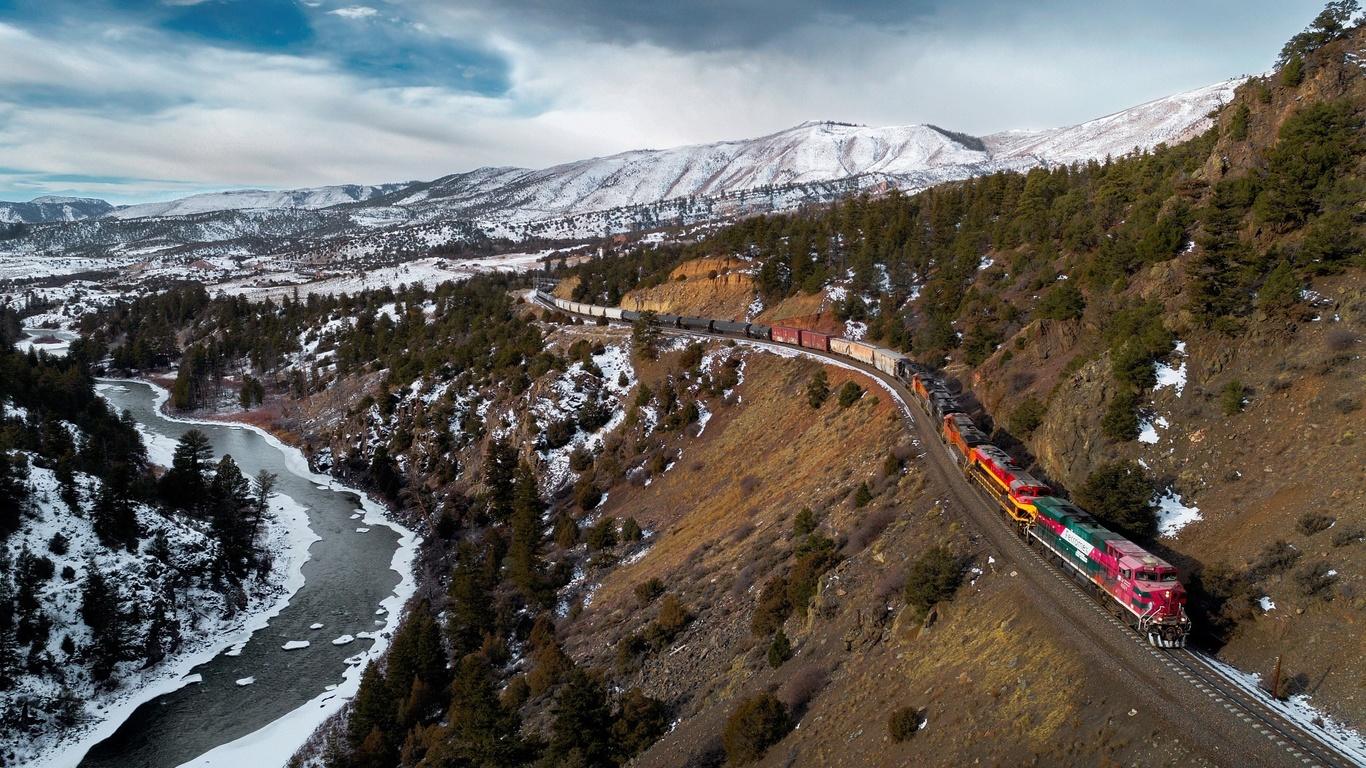 холмы, река, железная дорога, поезд