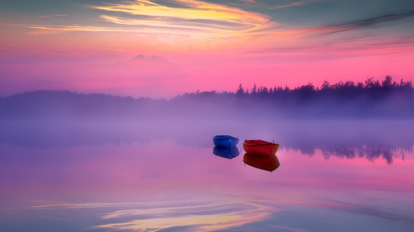 озеро, туман, лодки, небо, заря