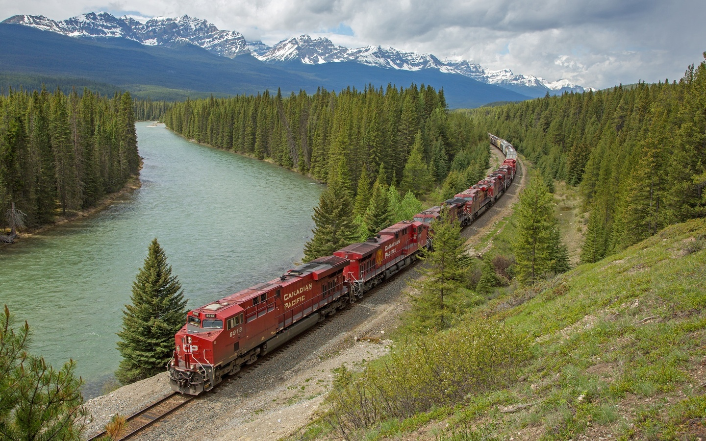 горы, лес, река, железная дорога, поезд