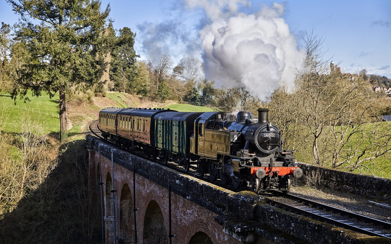 мост, железная дорога, поезд, паровоз, дым