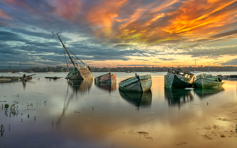 залив, лодки, небо, облака, отражение