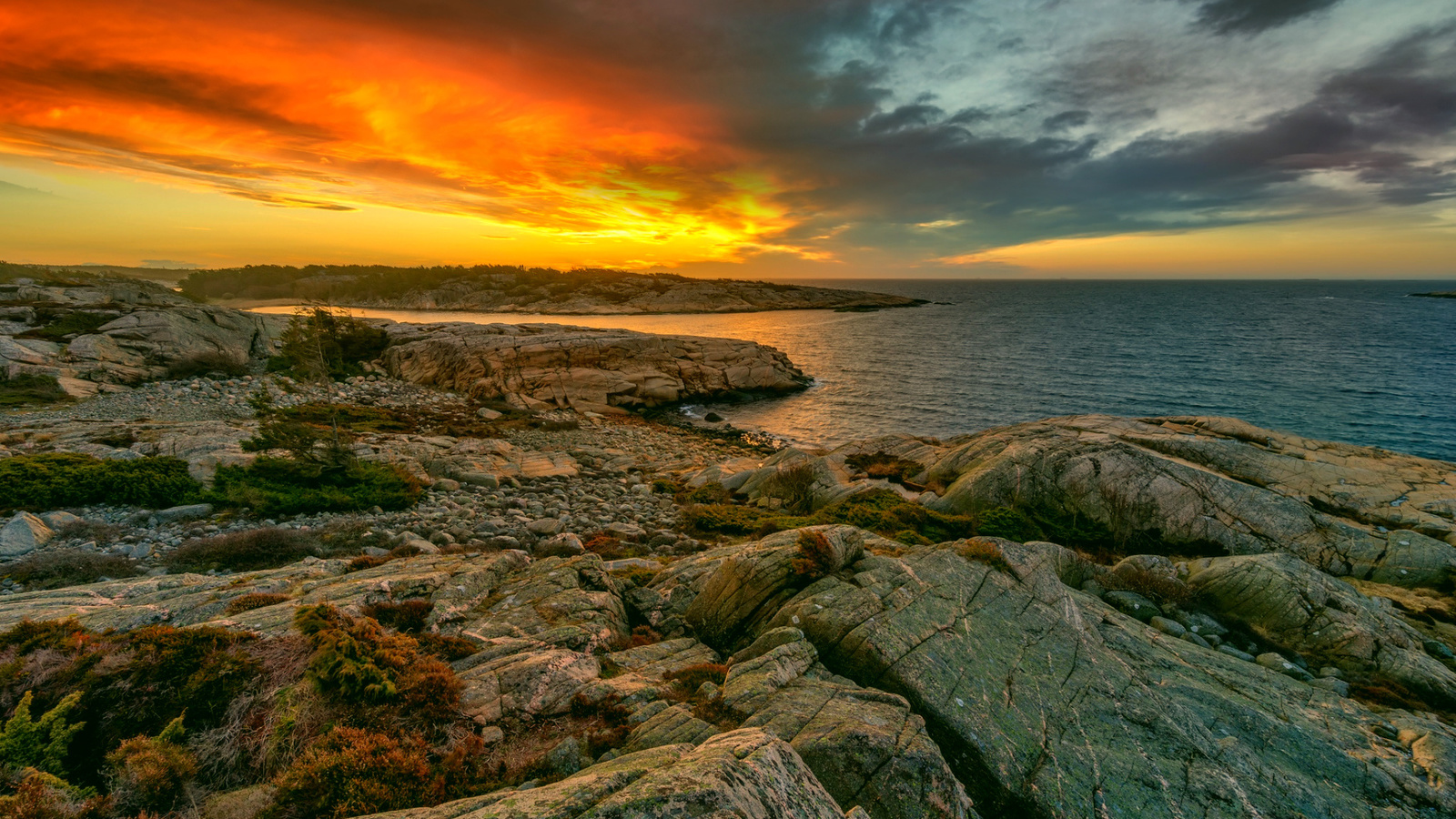 берег, скалы, море, небо, закат