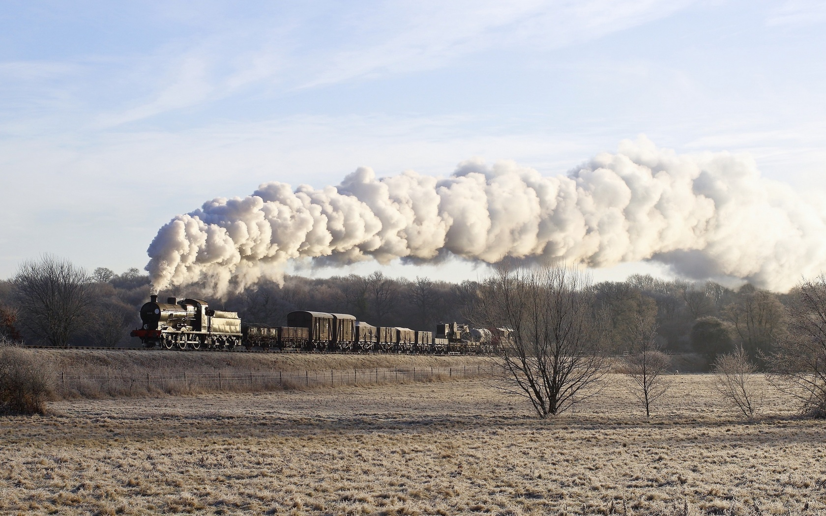 поезд, паровоз, дым