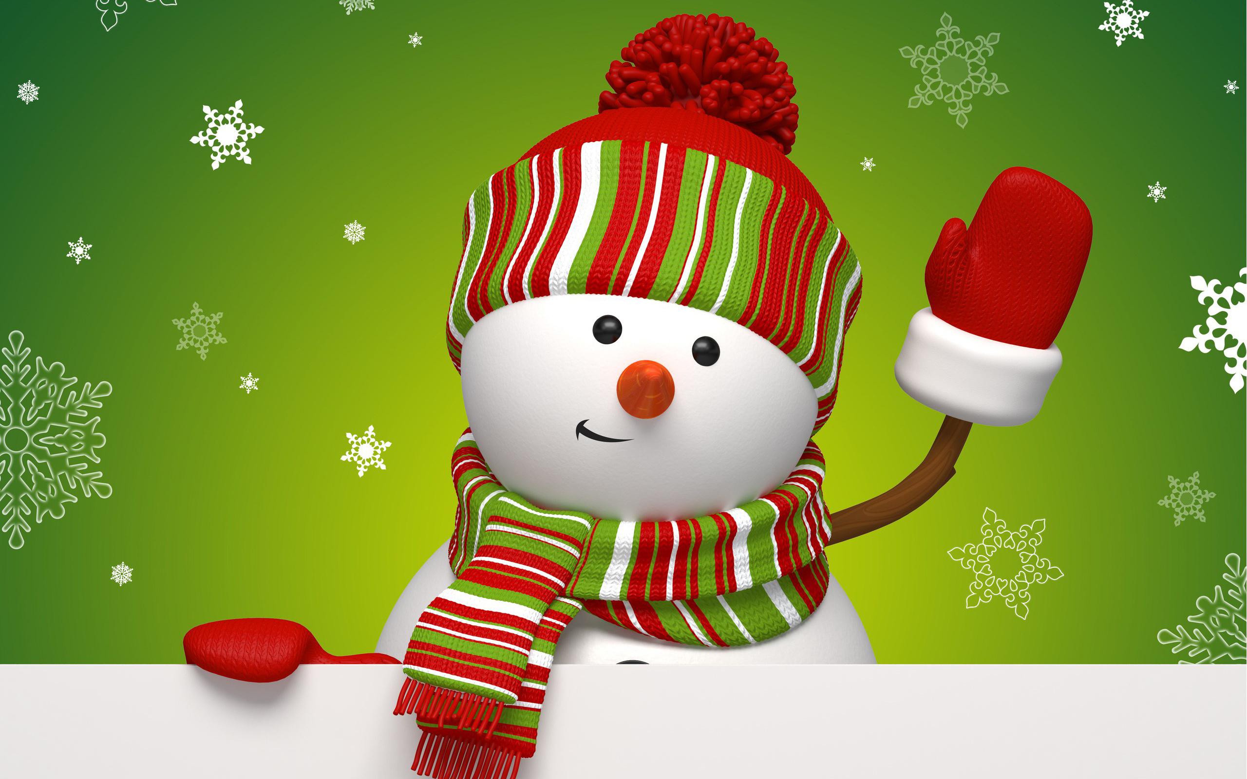 снеговик, празник, снежинки