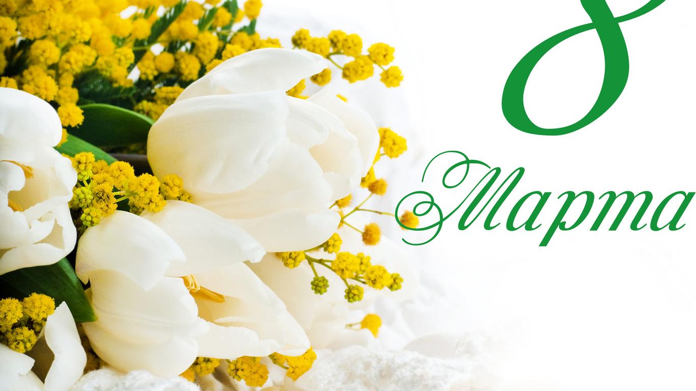 белые, тюльпаны, и, желтые, цветы, мимозы, на, белом, фоне, на, международный, женский, день, 8, марта