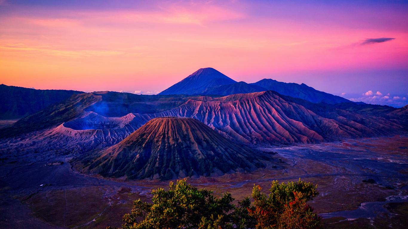 вид, на, вулкан, бромо, индонезия, закат, природа