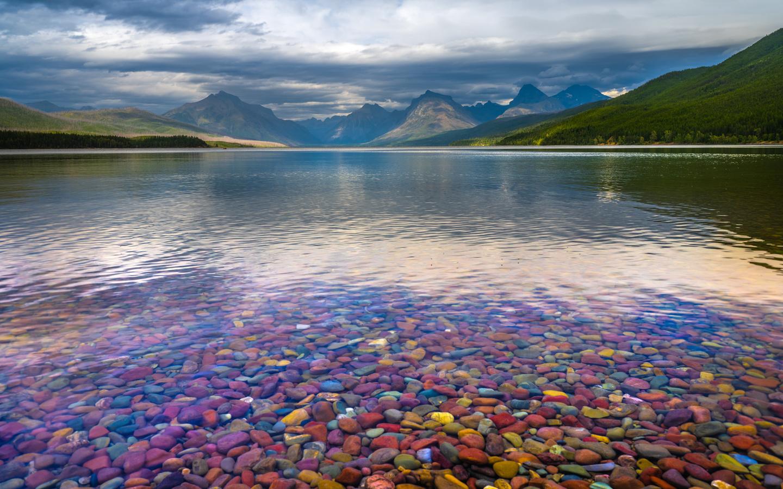 озеро, горы, lake, mcdonald, glacier, national park, облака, природа