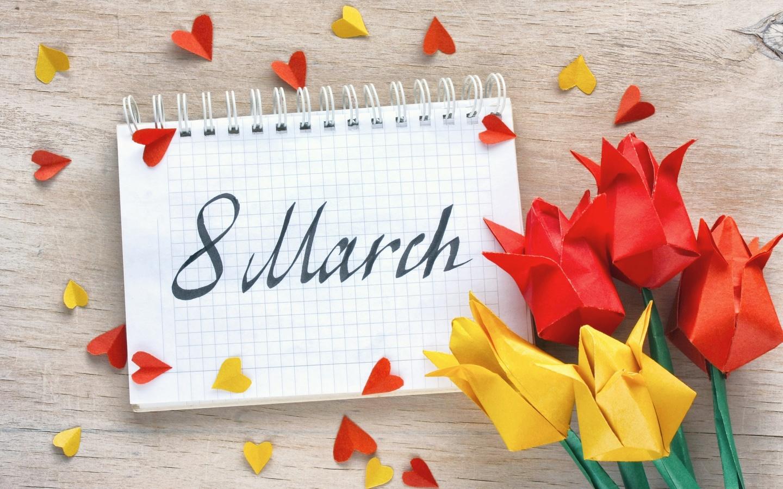 тюльпаны, оригами, с, блокнотом, на, 8, марта