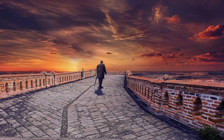 человек, мост, закат