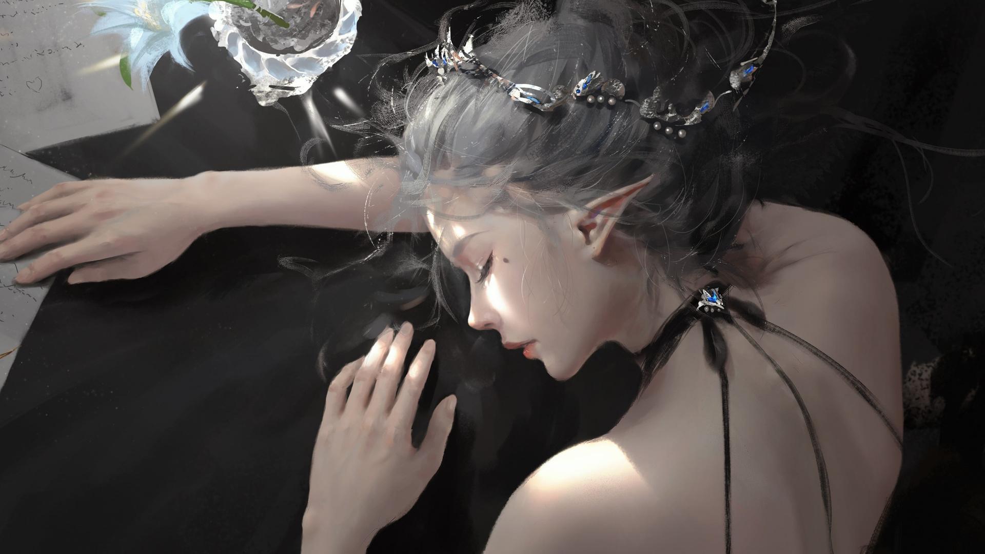 wlop, women, pen, flowers, closed, eyes, fantasy, art, fantasy, girl, artwork, art, hd, wallpaper