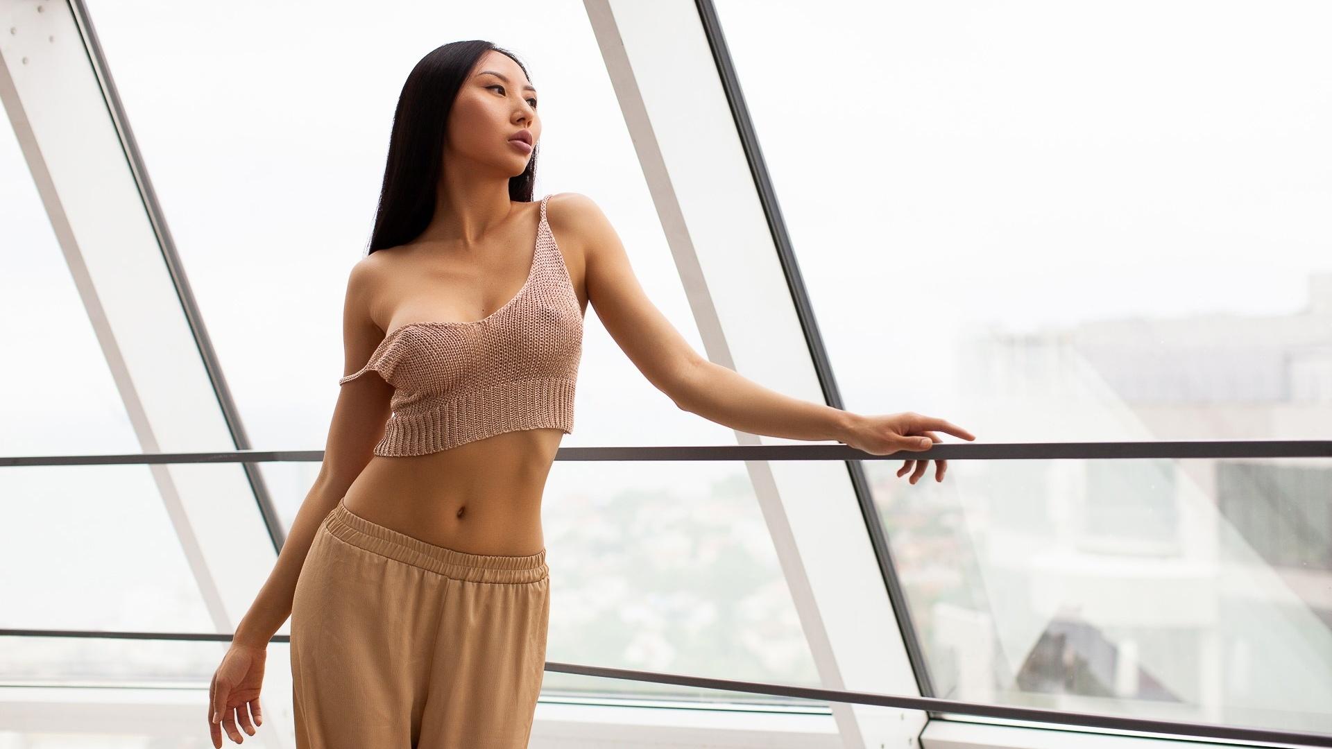 women, asian, no bra, women indoors, alexander grinn, belly, ribs, window, nipples through clothing, fence