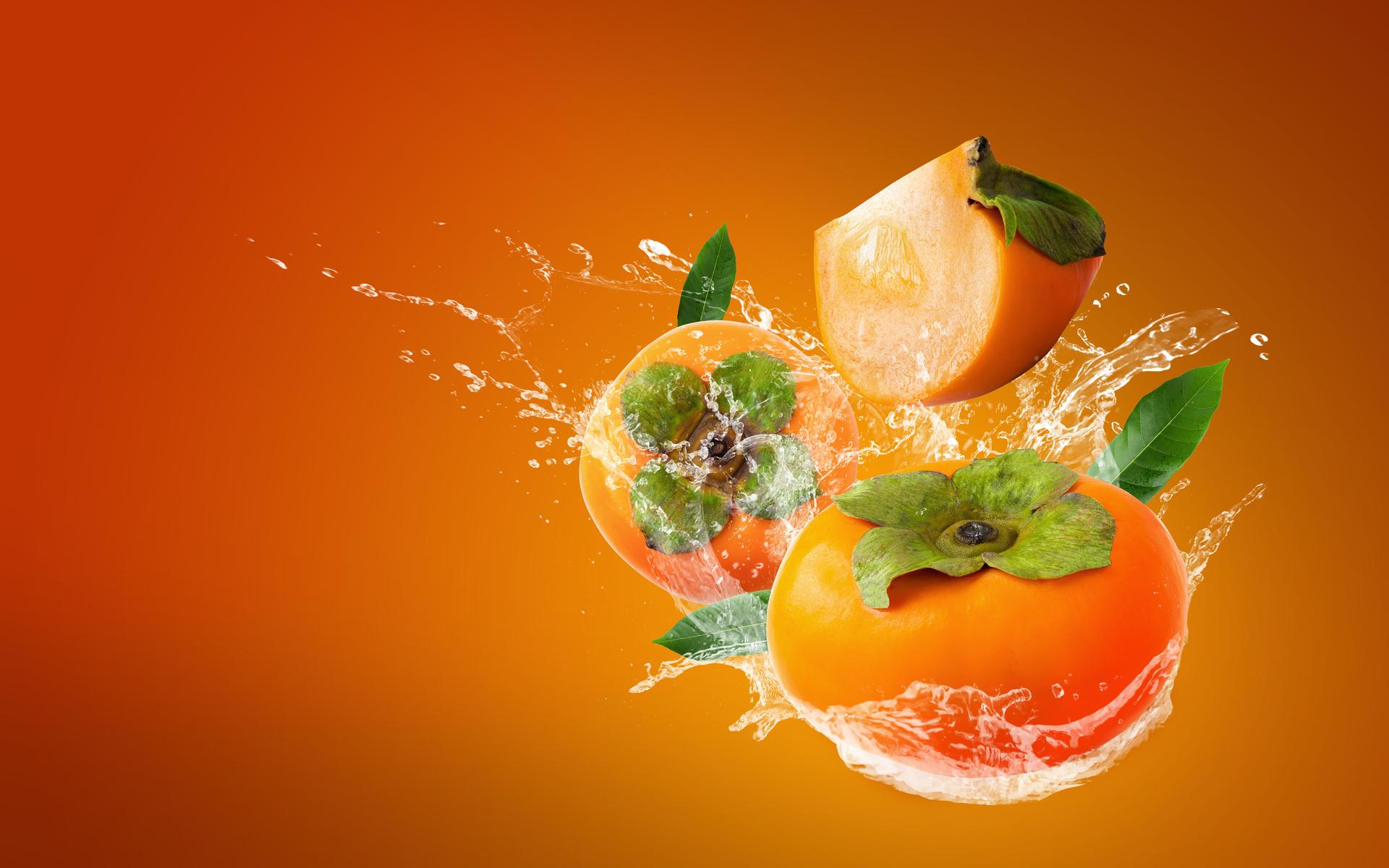 вода, брызги, всплеск, оранжевый, фон, листья, хурма