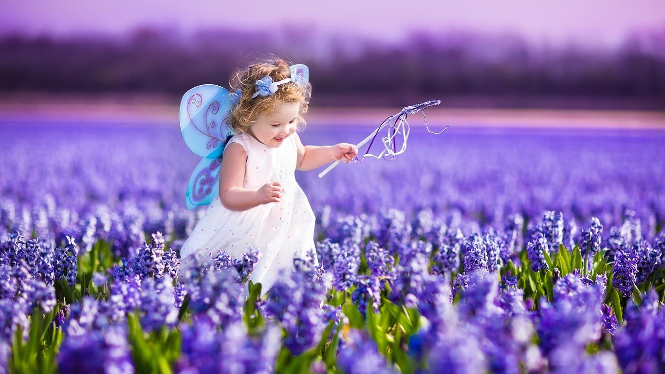Фото дети цветы природа