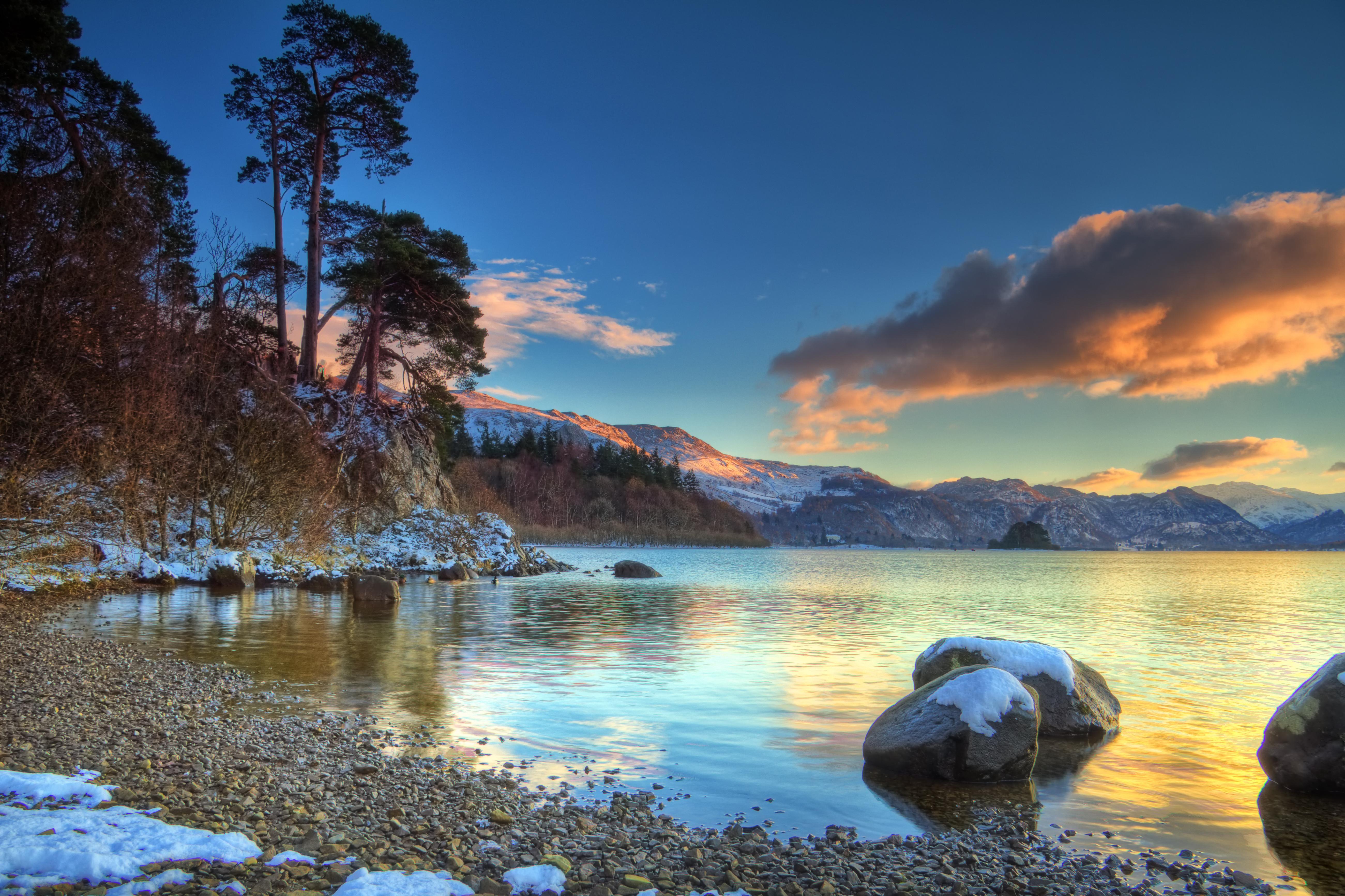 Обои озеро берег лес небо на рабочий