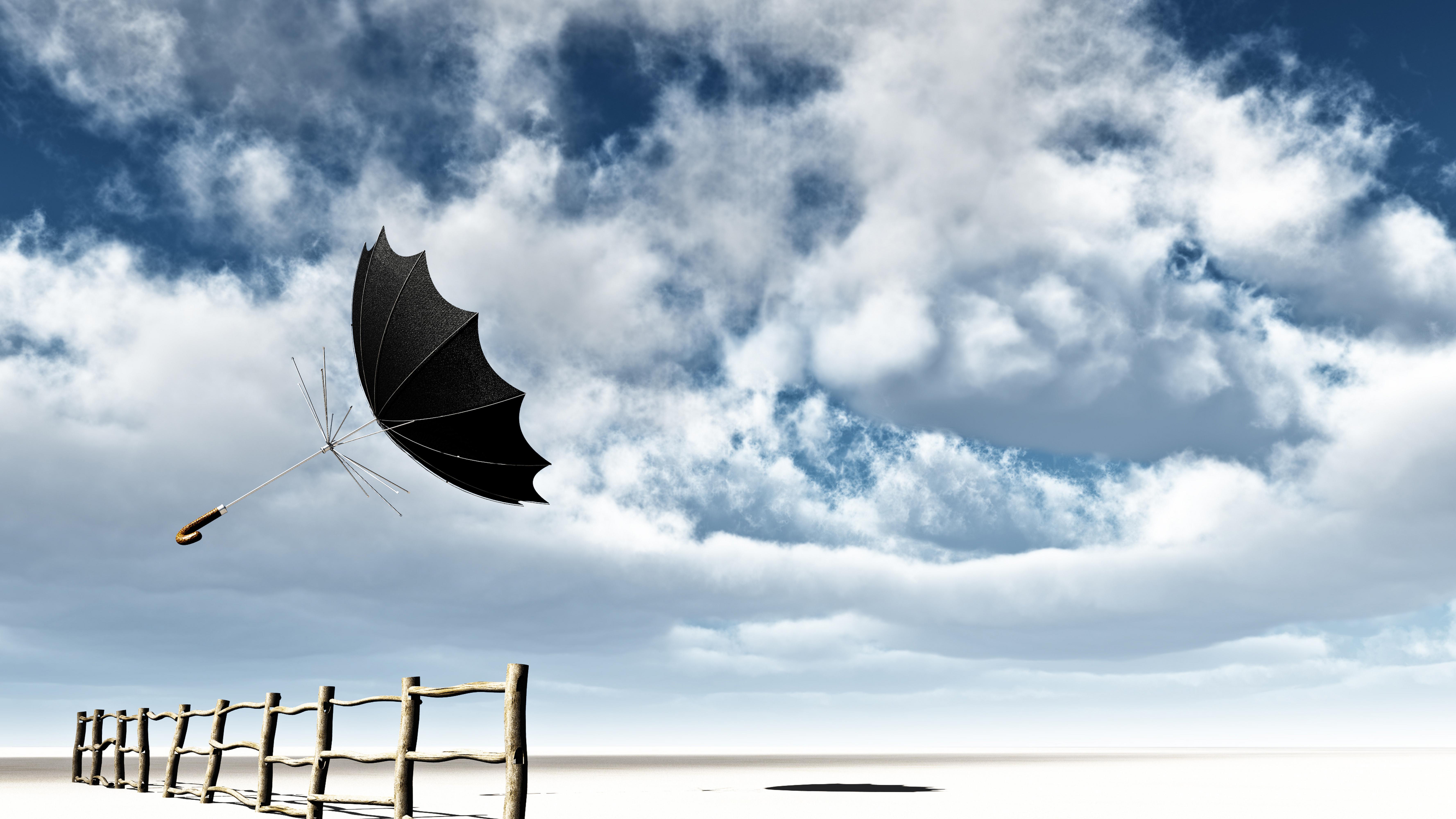 Обои небо забор ветер зонт облака