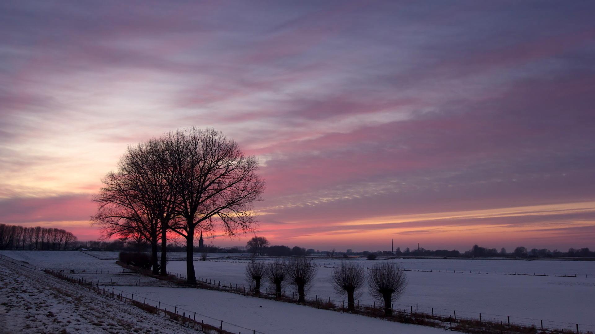 Обои пейзаж зима закат природа поле