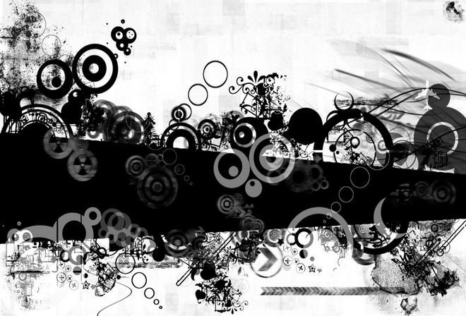 Абстракция черно белая кольца узор