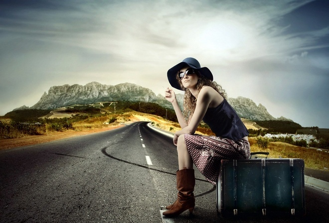 путешествие, шляпа, чемодан, милая девушка