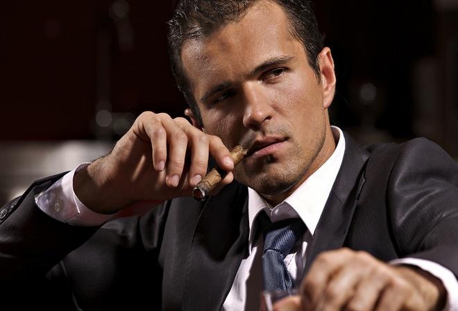 сигара, мужчина, внимателен, деловой
