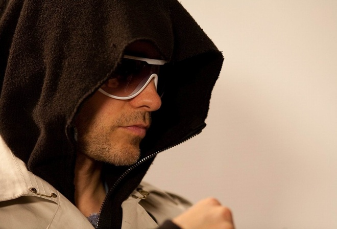 капюшон, стиль, очки, щетина, Джаред Лето, крутой мужчина