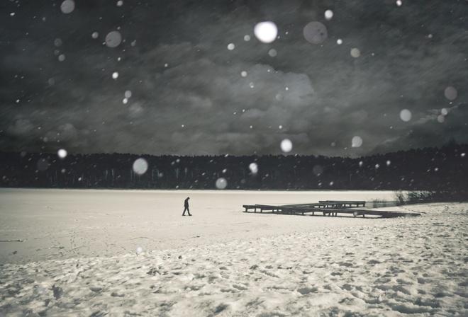 падающий снег, вечер,
