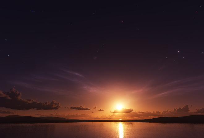 Обои небо звёзды закат солнце море