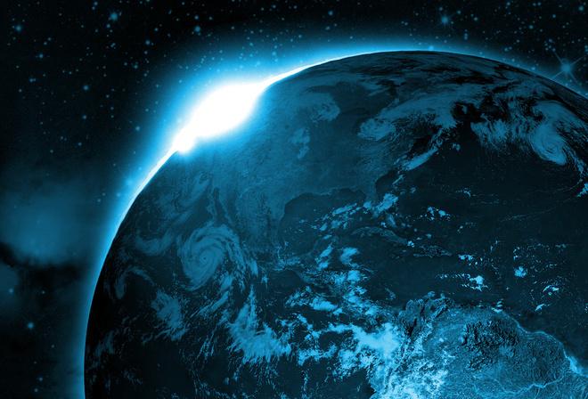 Солнце космос планета восход земля