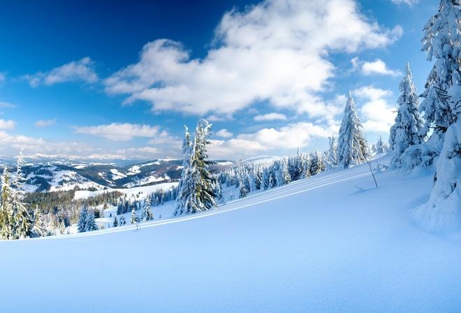 Зимние обои зима облака природа
